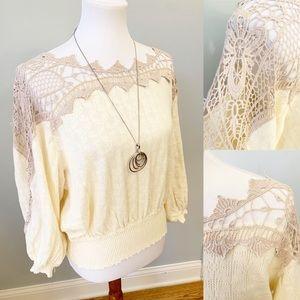 Free People Women's scoop neck blouse crochet